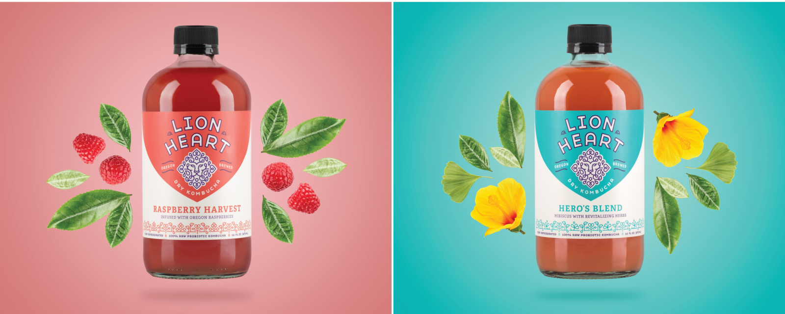Lion Heart Kombucha Packaging Design