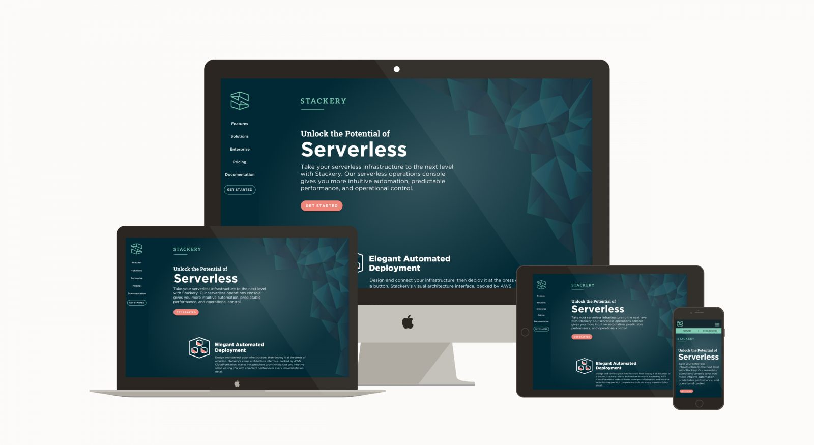 Stackery Startup responsive Website on various devices